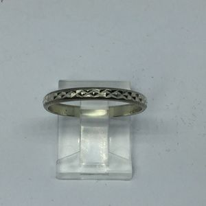 70s Sterling Stamped Diamond Linked Pattern Band